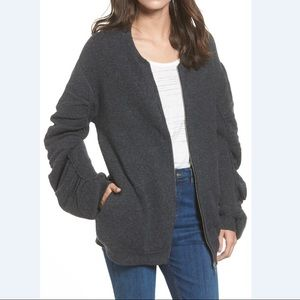 BP. Knit Ruched Sleeve Bomber